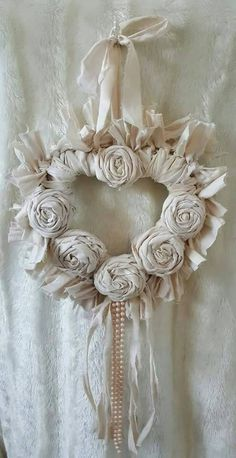 Cream heart cream rag wreath heart shabby by Chiclaceandpearls