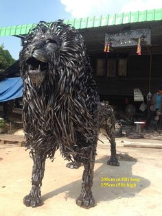 lion statue, life size scrap metal art