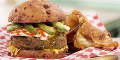 These killer vegetarian burgers boast a Portobello mushroom and black bean-based patty topped with avocado, cheese and a fried egg. Courtesy of Eric Bowden of Jack and Lois Diner. Avocado Recipes, Burger Recipes, Veggie Recipes, Healthy Recipes, Veggie Meals, Healthy Food, Best Veggie Burger, Meatless Burgers, Gluten Free Vegetarian Recipes