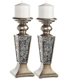 Creative Scents Schonwerk Pillar Candle Holder Set of 2 Crackled Mosaic Design Functional Table Decorations Centerpieces for Dining Living Room Best Wedding Anniversary Gift Silver -- You can get more details by clicking on the image. Candle Holder Decor, Pillar Candle Holders, Candlestick Holders, Candle Set, Candlesticks, Pillar Candles, Fireplace Candles, Home Coffee Tables, Decorating Coffee Tables