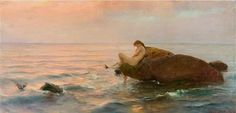 Knüpfer, Benes (b,1848)- Woman On Ocean Rock