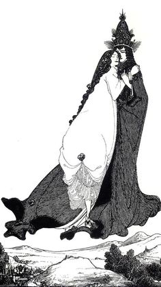Aubrey Beardsley's illustrations also really inspired the style of illustration I chose to use. He draws a lot of characters with long, flowing hair and dresses. I think it looks very romantic, and I also wanted to have a romantic aspect to my character design.