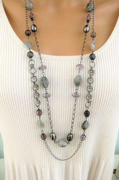 Multi-Strang Halsketten Multi-Strang lange graue Halskette