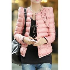 Stylish Round Neck Long Sleeve Solid Color Single-Breasted Women's Coat