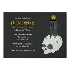 Creepy Skull & Candle Halloween Party Invitations