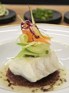 Energizing Recipe: Miso-Glazed Cod With Red Onion Confit, Crunchy Vegetables and Sesame Seaweed Salad from Four Seasons Hotel Ritz Lisbon.