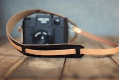Leather Camera Strap // natural tan & black chromexcel // American Native Goods