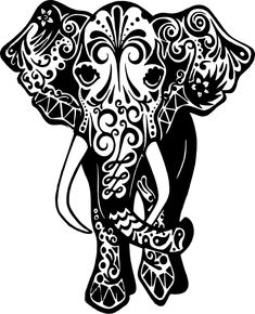 Free DIY cutting vector files SVG, etc Blk and white Elephant Silhouette, Silhouette Cameo Projects, Silhouette Machine, Silhouette Design, Mandalas Painting, Mandalas Drawing, Zentangles, Vinyl Crafts, Vinyl Projects