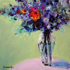 """""""Red Flower Bouquet in Green Room"""" - Robert Burridge"""