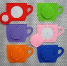 """In this video I am going to show you how I made a Quiet Book """"Tea Cups Page"""" with Matching Colors Activity. Diy Quiet Books, Baby Quiet Book, Felt Quiet Books, Quiet Book Templates, Quiet Book Patterns, Toddler Learning Activities, Color Activities, Sensory Book, Fabric Toys"""