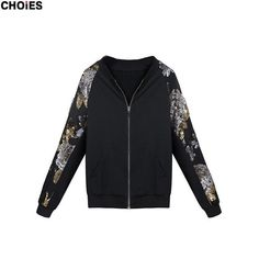 CHOIES Black Sequined Sleeve Embellished Zipper Front Jacket Autumn Novelty High Street Brand Female Clothing Women Coats