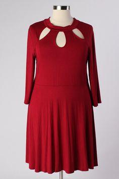Plus Size Clothing for Women - Lady Boss Keyhole Dress - Burgundy (Sizes 14 - 20) - Society+ - Society Plus - Buy Online Now!