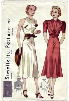 I like that the shape of the garment on the right is structured and form-fitting at the top and looser on the bottom. Misses Sunback Frock and Bolero. The princess frock has a halter top neckline and slashed pockets. The skirt is flared. A tied girdle. The bolero jacket that is trimmed with bias band has unusual shaped revers and short sleeves. Featured in February 1937 Simplicity advertising booklet