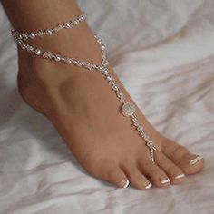 Fabal Womens Beach Imitation Pearl Barefoot Foot Jewelry Anklet Chain Bracelet