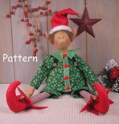 PATTERN Christmas Elf Primitive Vintage Raggedy Cloth Doll Sewing Craft Folk Art