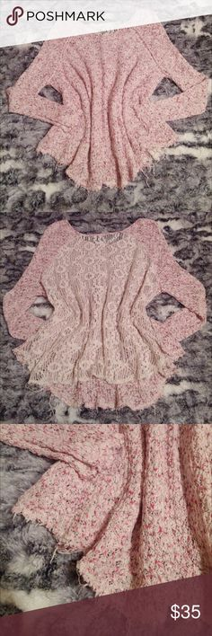 FP Poppyseed sweater Pink marked knit. Crochet back. Worn once by previous owner. No pulls or rips. In excellent condition. The hem is a raw hem, so there are some loose, longer threads, but it is not unraveling to the point of completely coming undone. There is a hem to keep it from falling apart. The only minor flaw is the metal FP tag is hanging on by a thread. 100% cotton, dry clean recommended. Free People Sweaters