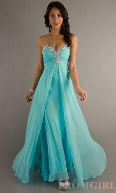 aqua  blush prom strapless Long Prom Dresses