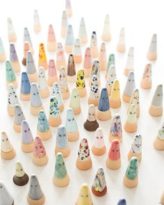"Sneak Peek: Anders Arhoj. ""Ghosts — an army of small hand-thrown ceramic figurines in many different clays and glazes designed in collaboration with Danish ceramicist Louise Gaarmann. They are available in the States from the Danish webshop Hurra! in Los Angeles."" #sneakpeek"