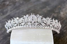 The VICTORIA Tiara© SWAROVSKI CRYSTAL & FAUX PEARL VICTORIAN BRIDAL TIARA © (Also available with ALL CRYSTALS - No Pearls) ***THE DETAILS*** This vintage inspired Victorian Swarovski Crystal and Faux Pearl Leaf Bridal Tiara is an absolute STUNNER in person! Extremely luxurious