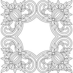 Free Hand Embroidery Pattern: Pomegranate Corners from Needle 'n Thread