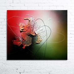 Nebula - tableau abstrait moderne contemporain peinture acrylique en relief noir rouge rose vert blanc doré : Peintures par tableaux-abstraits-nathalie-robert