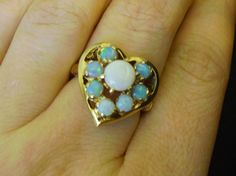 heart-shaped vintage rings | Opal and 14K Gold Heart Shaped Ring Size 7 from chelseaantiques on ...