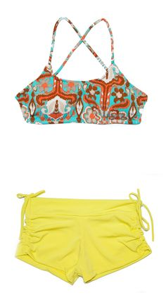 Get Your Om On Crossback Top in Ikat and Follow Your Bliss Shorts in Neon Sun for your next session on the mat!