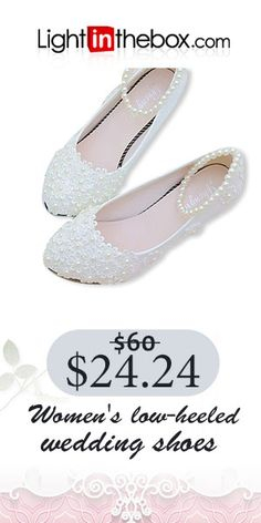 1b45c23d92a51   22.49  Women s Shoes Lace   PU(Polyurethane) Spring   Fall Slingback  Wedding Shoes Low Heel Beading   Imitation Pearl   Appliques White