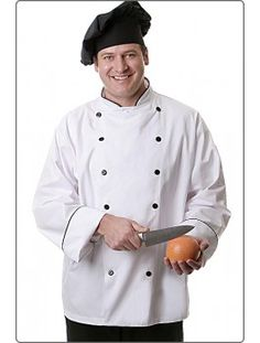 Executive Chef Coat, available in white and white with black piping. Features a left-arm thermometer pocket. All-white coat features French knot buttons. Coat with black piping features black plastic buttons.
