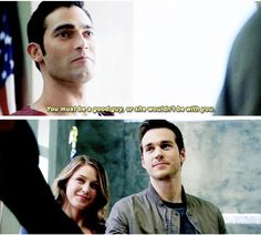 """You must be a good guy, or she wouldn't be with you"" - Superman, Kara and Mon-El #Supergirl"