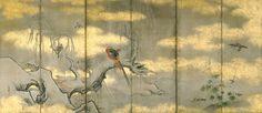 Four seasons flower bird figure Japanese folding screen. Kano School. 四季花鳥図屏風 狩野常信