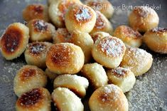 PRETZEL BITES!                                           OH YUM!!!!!!!                                                        PRETZEL BITES  Texas size Rhodes Frozen roll dough  *as many as you like – each roll makes four bites  coarse salt, parmesan, garlic, cinnamon & sugar  Vanilla glaze (optional)