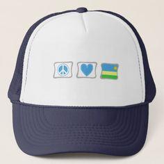 Peace Love and Rwanda Squares Trucker Hat Rwanda Flag, National Flag, Custom Hats, Peace And Love, Flags, Squares, Kids Outfits, Baseball Hats, Reusable Tote Bags