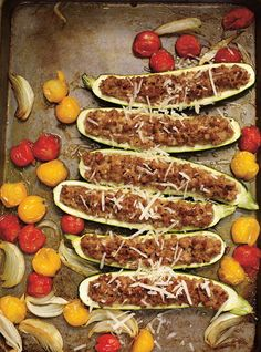 Courgettes farcies au veau et au parmesan. Mmmmm merci Lili!
