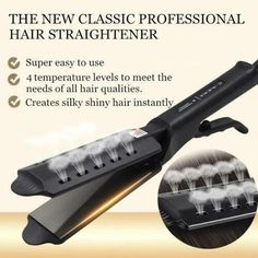 Ceramic Tourmaline Ionic Flat Iron Hair Straightener Plugs 3 Professional G Steam Hair Straightener, Professional Hair Straightener, Ceramic Hair Straightener, Hair Straightening Iron, Straightener Storage, Curling Iron, Different Hair Types, Hair Iron, Silky Hair