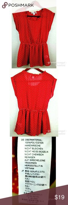 """Forever 21 Polka Dot Pintuck Sheer Pemplum Red S Forever 21 Pintuck Polka Dot Sheer Pemplum Red with White Polka Dots  Size: S Bust: 18"""" Length: 28"""" Sleeves: 1 1/2"""" Excellent condition Forever 21 Tops Blouses"""