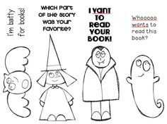 Ms. O Reads Books  Super cute KPM Doodles clip art turned into October themed bookmarks.