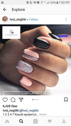 "If you're unfamiliar with nail trends and you hear the words ""coffin nails,"" what comes to mind? It's not nails with coffins drawn on them. It's long nails with a square tip, and the look has. Black Nail Designs, Nail Designs Spring, Simple Nail Designs, Love Nails, Pretty Nails, My Nails, Black Nails, Pink Nails, Winter Nails"