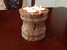Turned Rustic Tealight holder Wooden Candle by KatchukWoodcrafts