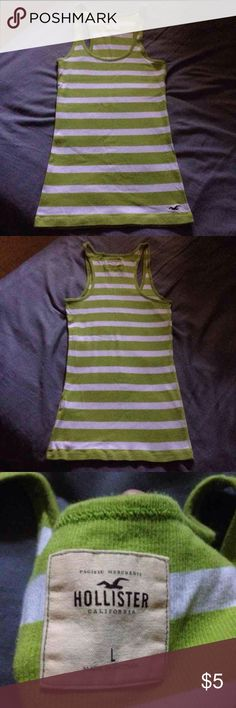 Hollister tank Hollister tank size large, green and white with red hollister logo bird toward bottom Hollister Tops Tank Tops