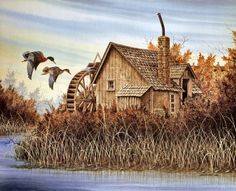 Farm Pictures, Water Mill, Landscape Paintings, Landscapes, Le Moulin, Various Artists, Pyrography, Painting Inspiration, American History