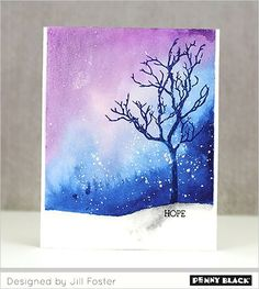 #Penny_Black Winter Scene with SAKURA KOI WATERCOLORS | Masks off bottom portion of card w painters tape to make snowy rolling ground | Video (10,28.15)