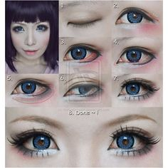 Dolly eyes makeup tutorial suit for Cosplay by mollyeberwein ❤ liked on Polyvore featuring beauty products, makeup and eye makeup