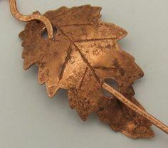 Copper leaf shawl pin