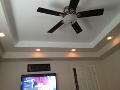 Our tray ceiling my husband put in! Ceiling Fan, Bedrooms, Tray, Husband, Moon, Home Decor, The Moon, Decoration Home, Room Decor
