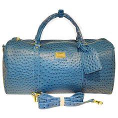 Sea blue ostrich duffle bag
