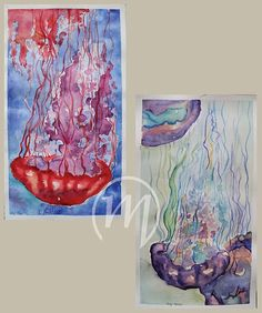 My watercolor jellyfishes based on photos from pinterest :)