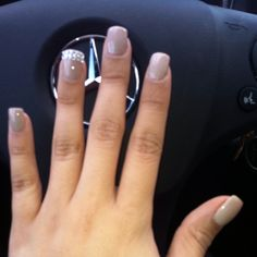 Nude polish with some bling'