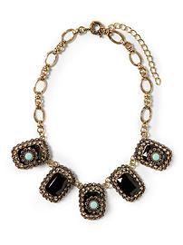 Sabine Chunky Black and Mint Necklace