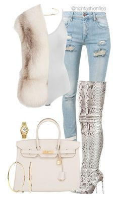 Untitled #2718 by highfashionfiles on Polyvore featuring polyvore fashion style Jil Sander Off-White Intimissimi Hermès Rolex Nadri Jennifer Fisher Christian Louboutin clothing